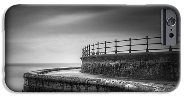 Ian iPhone Cases - Sea Wall Scarborough Yorkshire iPhone Case by Ian Barber