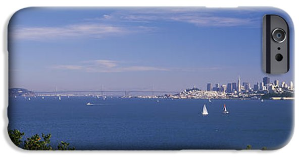 Oakland Bay Bridge iPhone Cases - Sea With The Bay Bridge And Alcatraz iPhone Case by Panoramic Images