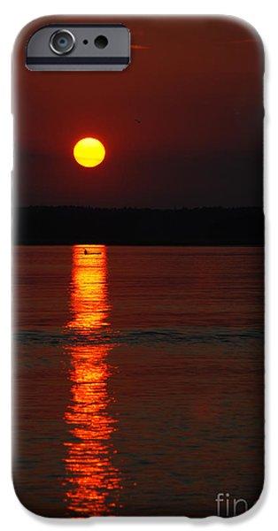 Canoe iPhone Cases - Seabrook Sunset iPhone Case by Richard Gibb