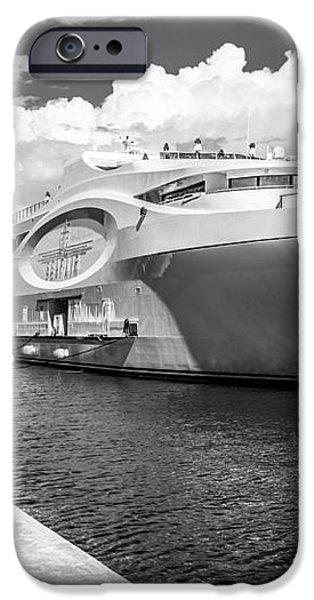 Seafair art venue yacht moored in Miami - Black and White iPhone Case by Ian Monk