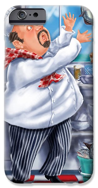 Chef iPhone Cases - Seafood Chefs-Catch of the Day  iPhone Case by Shari Warren