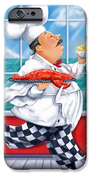 Chef iPhone Cases - Seafood Chefs-Live Lobster iPhone Case by Shari Warren