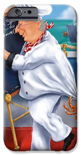 Chef iPhone Cases - Seafood Chefs-Todays Special iPhone Case by Shari Warren
