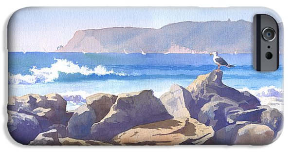 Waves Paintings iPhone Cases - Seagull and Point Loma iPhone Case by Mary Helmreich