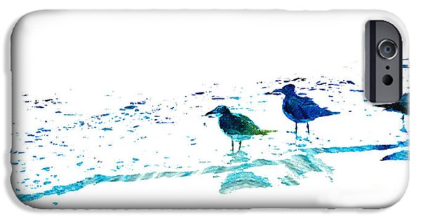 Sea Birds Paintings iPhone Cases - Seagull Art - On The Shore - By Sharon Cummings iPhone Case by Sharon Cummings