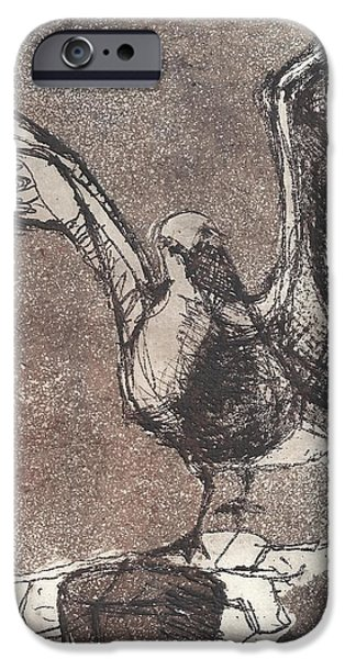 Seagull Drawings iPhone Cases - Seagull Brown iPhone Case by Wendy Rosselli
