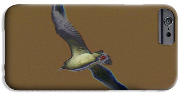 Sea Birds Digital Art iPhone Cases - Seagull iPhone Case by Carol Lynch