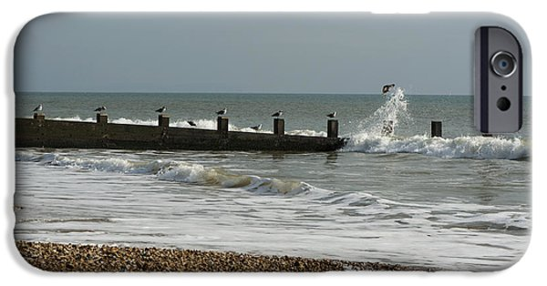 Incoming Tide iPhone Cases - Seagull Groyne iPhone Case by Anne Gilbert