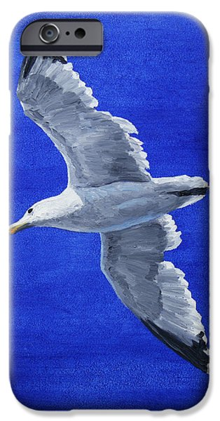 Seagull Paintings iPhone Cases - Seagull in Flight iPhone Case by Crista Forest