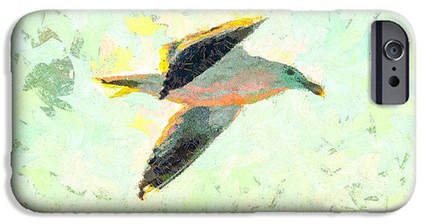 Flying Seagull Mixed Media iPhone Cases - Seagull In Flight iPhone Case by Priya Ghose