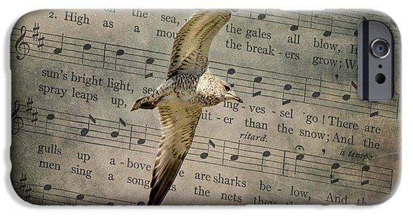 Flying Seagull Mixed Media iPhone Cases - Seagull iPhone Case by Linda Muir