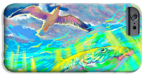 Permit iPhone Cases - Seagull Over The Flats  iPhone Case by Yusniel Santos
