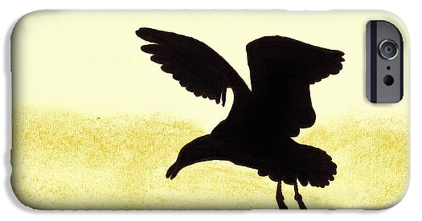 Seagull Drawings iPhone Cases - Seagull - Silhouette iPhone Case by D Hackett