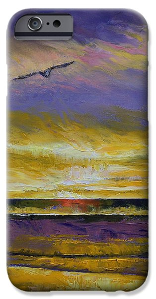Michael Paintings iPhone Cases - Seagull Sunset iPhone Case by Michael Creese