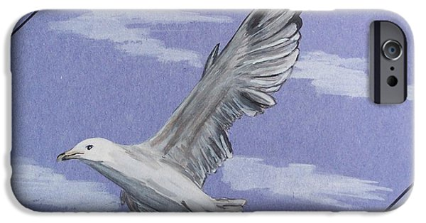 Flying Seagull Paintings iPhone Cases - Seagull iPhone Case by Susan Turner