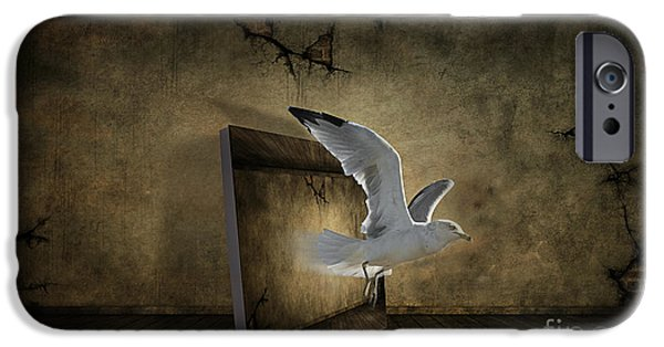 Seagull Mixed Media iPhone Cases - Seagull Taking Off iPhone Case by Jim  Hatch