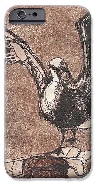 Seagull Drawings iPhone Cases - Seagull iPhone Case by Wendy Rosselli
