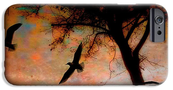 Flying Seagull iPhone Cases - Seagulls At Dusk iPhone Case by Gothicolors Donna Snyder