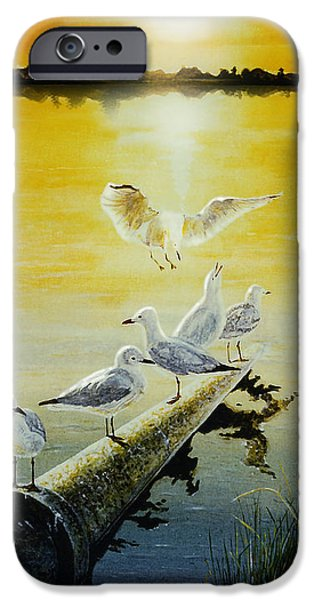 Flying Seagull Paintings iPhone Cases - Seagulls at Lake Monger iPhone Case by Hartmut Jager