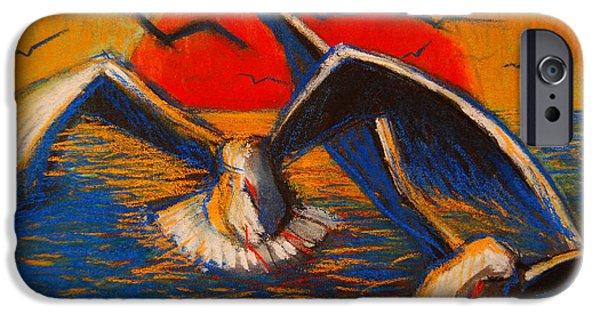 Flying Seagull iPhone Cases - Seagulls At Sunset iPhone Case by Mona Edulesco