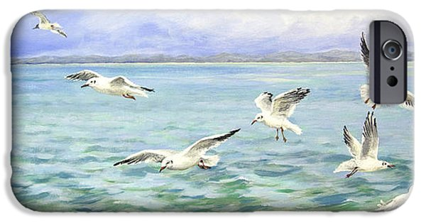 Flying Seagull Paintings iPhone Cases - Seagulls Flight iPhone Case by Sandra  Francis