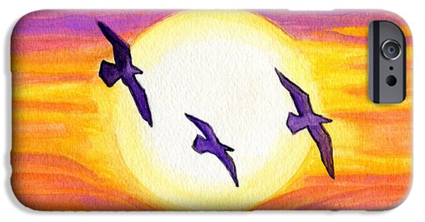 Flying Seagull Paintings iPhone Cases - Seagulls Flying Over Flagler Beach iPhone Case by Roz Abellera Art