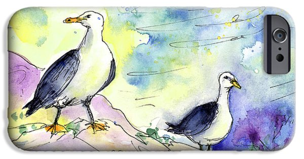 Seagull Drawings iPhone Cases - Seagulls in Calpe in Spain iPhone Case by Miki De Goodaboom