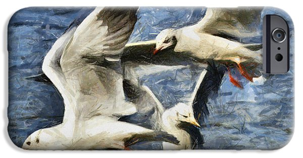 Seagull Pastels iPhone Cases - Seagulls in flight - drawing iPhone Case by Daliana Pacuraru