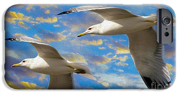 Free Mixed Media iPhone Cases - Seagulls in Flight iPhone Case by Jon Neidert
