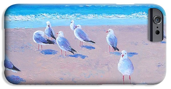 Seagull Paintings iPhone Cases - Seagulls iPhone Case by Jan Matson