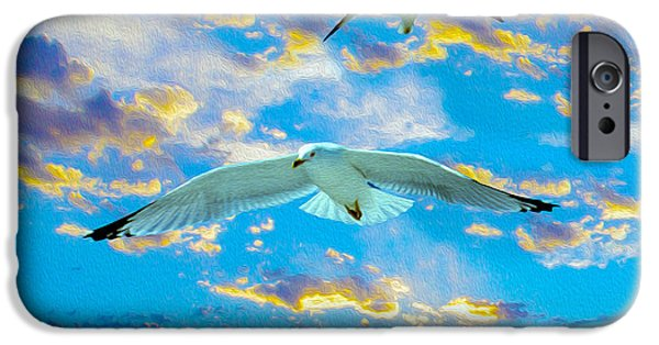Flying Seagull iPhone Cases - Seagulls  iPhone Case by Jon Neidert