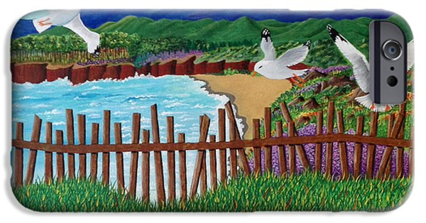 Flying Seagull Paintings iPhone Cases - Seagulls iPhone Case by Nunziata