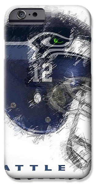 Washington Digital Art iPhone Cases - Seahawks 12 iPhone Case by Daniel Hagerman