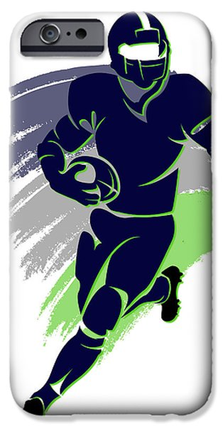 Seattle Seahawks iPhone Cases - Seahawks Shadow Player2 iPhone Case by Joe Hamilton