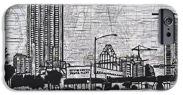 Powerlines Drawings iPhone Cases - Seaholm on Map iPhone Case by William Cauthern