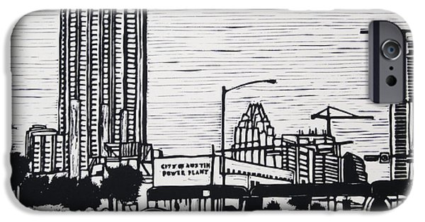 Lino Drawings iPhone Cases - Seaholm iPhone Case by William Cauthern