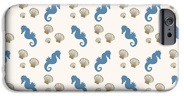 Sea Mixed Media iPhone Cases - Seahorse and Shells Pattern iPhone Case by Christina Rollo