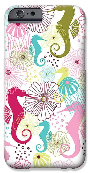 Sea iPhone Cases - Seahorse Flora iPhone Case by Susan Claire