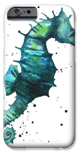 Aquarium iPhone Cases - Seahorse in Teal iPhone Case by Alison Fennell
