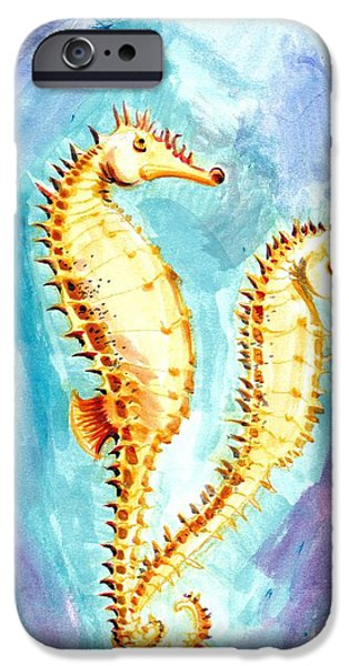 Seahorse iPhone Cases - Seahorse Love Marine Watercolor iPhone Case by Tiberiu Soos