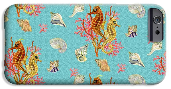 Seahorse iPhone Cases - Seahorses Coral and Shells iPhone Case by Kimberly McSparran