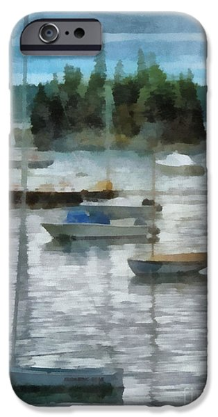 Sailboat Ocean iPhone Cases - Seal Harbor Maine iPhone Case by Helene Guertin