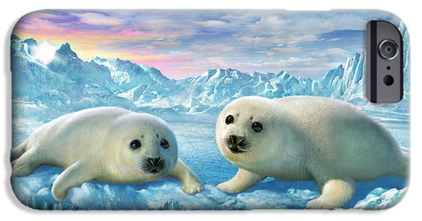Pups Digital Art iPhone Cases - Seal Pups iPhone Case by Adrian Chesterman