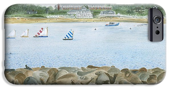 Chatham Paintings iPhone Cases - Seals at Chatham Bars Inn iPhone Case by Heather MacKenzie