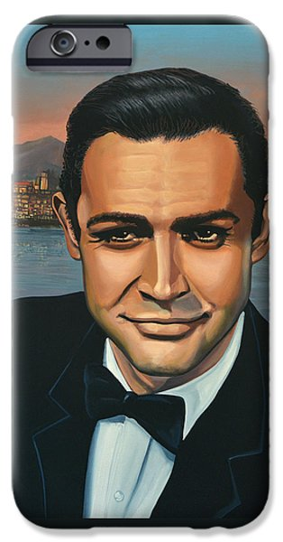 Celebrities Art iPhone Cases - Sean Connery as James Bond iPhone Case by Paul Meijering