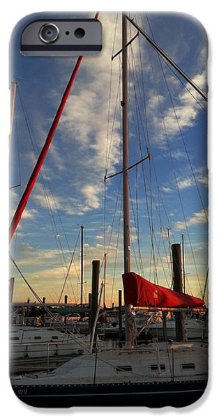 Sailboats iPhone Cases - Seapath Sailboats iPhone Case by Karen Rhodes