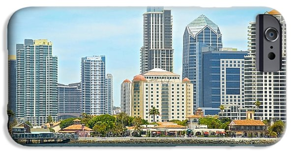 Village iPhone Cases - Seaport Village and Downtown San Diego Buildings iPhone Case by Claudia  Ellis