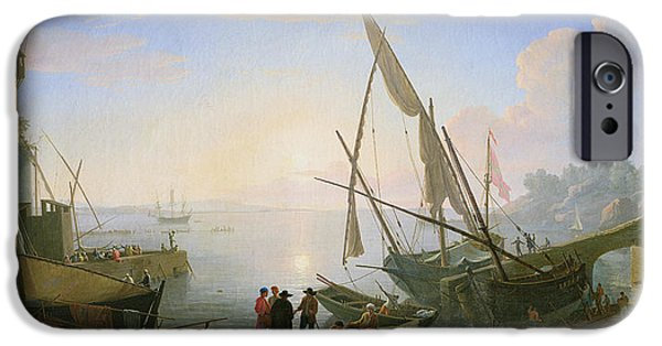 Boat Paintings iPhone Cases - Seaport with Sunset iPhone Case by Adrien Manglard
