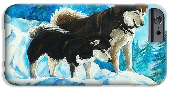 Huskies iPhone Cases - Searching Huskies iPhone Case by MarLa Hoover