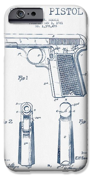Weapon iPhone Cases - Searle Pistol Patent Drawing from 1921 -  Blue Ink iPhone Case by Aged Pixel